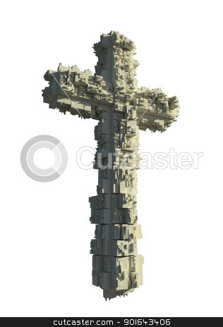 Cross abstract stock photo,  Cross abstract - 3d rendering of a cross shaped geometry  by Mopic