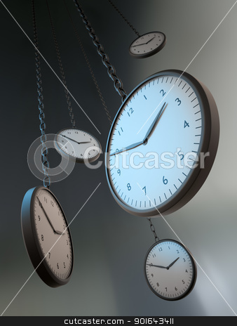 Abstract hanging clocks stock photo, Abstract hanging clocks - Time passing by metaphor  by Mopic