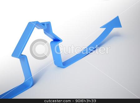 House shaped blue arrow - Growing home sales 3D illustration stock photo, House shaped blue arrow - Growing home sales 3D illustration by Mopic