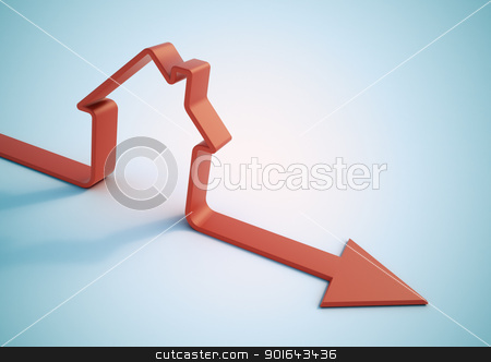 House shaped aroow - Falling home sales 3D illustration stock photo, House shaped aroow - Falling home sales 3D illustration by Mopic