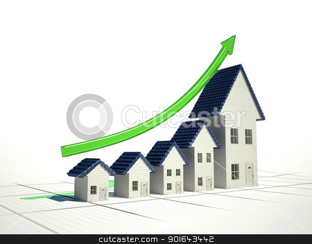 Growing home sales 3D illustration - real estate market stock photo, Growing home sales 3D illustration - real estate market by Mopic