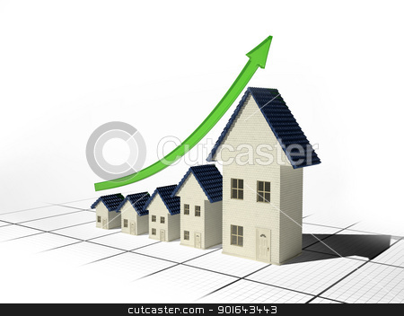 Growing home sales 3D illustration - real estate market stock photo, Growing home sales 3D illustration - real estate market by Mopic
