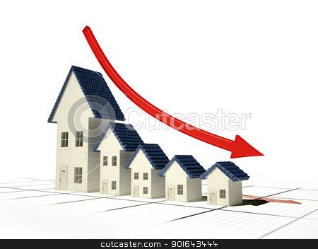 Falling home sales 3D illustration - real estate market stock photo, Falling home sales 3D illustration - real estate market by Mopic