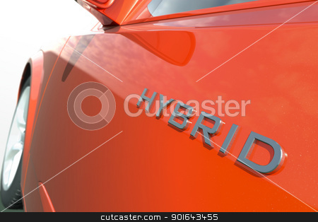Close up view of a hybrid car stock photo, Close up view of a hybrid car  by Mopic