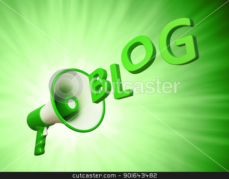 Megaphone with the Blog sign - blogging concept illustration  stock photo, Megaphone with the Blog sign - blogging concept illustration  by Mopic