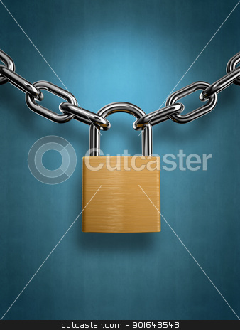 Padlock with a chain on a blue background stock photo, Padlock with a chain on a blue background by Mopic