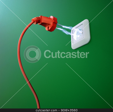 An electric discharge between a plug and an outlet stock photo, An electric discharge between a plug and an outlet by Mopic