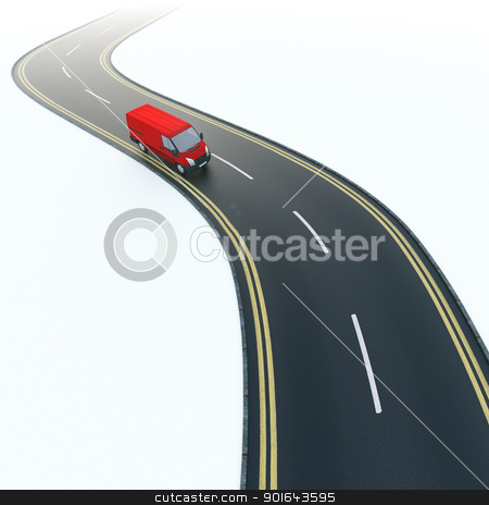 Red van on a curvy road.  stock photo, Red van on a curvy road.  by Mopic