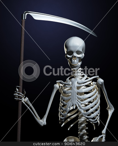 Undead skeleton holding a scythe -  The Grim Reaper stock photo, Undead skeleton holding a scythe -  The Grim Reaper by Mopic