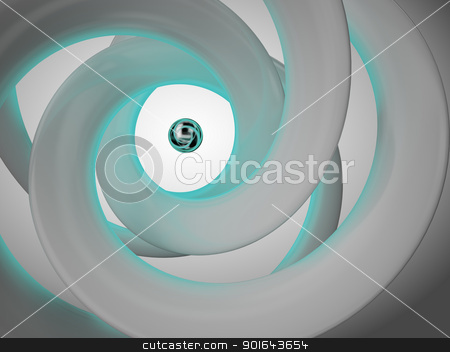 Abstract 3D illustration with lines forming a spiral stock photo, Abstract 3D illustration with lines forming a spiral  by Mopic