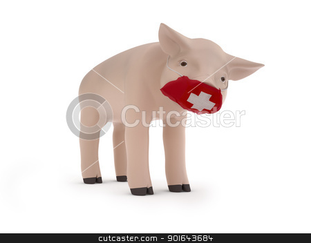 Piggy is afraid of the swine flu infection stock photo, Piggy is afraid of the swine flu infection by Mopic