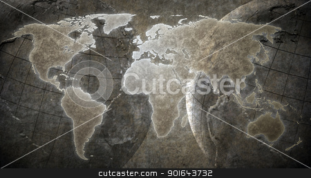 World map stock photo, Grunge World map background by Mopic