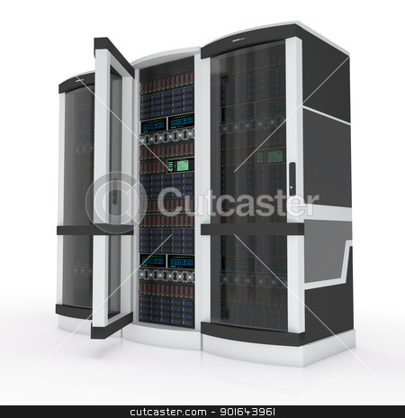 three servers stock photo, three servers with open door on white by Evgeniy Shadrin