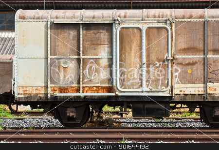 Railroad container  stock photo, Railroad container doors with more rusty old by stoonn