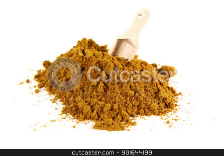 Curry stock photo, yellow, spicy curry mixture with a shovel on white background by Marén Wischnewski