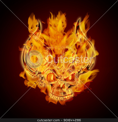 Fire Burning Flaming Skull with Horns stock photo, Fire Burning Flaming Skull with Horns on Dark Background Illustration by Jit Lim