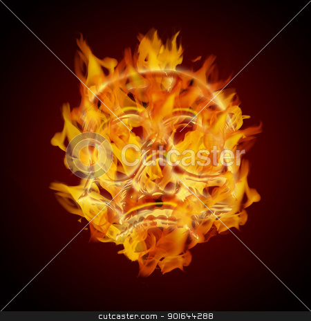Fire Burning Flaming Skull stock photo, Fire Burning Flaming Skull on Dark Background Illustration by Jit Lim