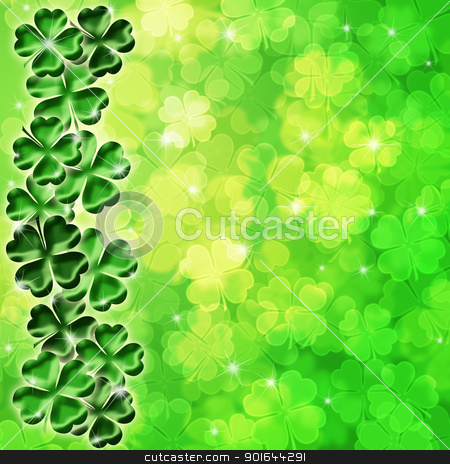 Lucky Four Leaf Clover Shamrock on Blurred Background stock photo, Lucky Irish Four Leaf Clover Shamrock Sparkles on Blurred Background Illustration by Jit Lim