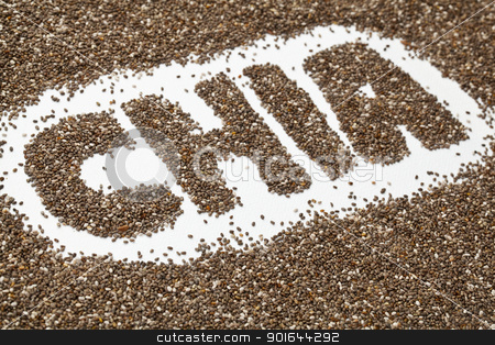 chia seeds word and background stock photo, chia word made from chia seeds on white artist canvas by Marek Uliasz