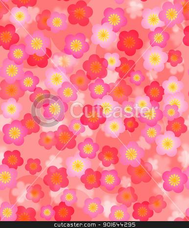 Spring Time Cherry Blossom Seamless Tile Background stock photo, Spring Time Cherry Blossom Seamless Tile Pattern Background Illustration by Jit Lim