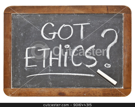 Got ethics question stock photo, Got ethics question - white chalk handwriting on a vintage slate blackboard, isolated by Marek Uliasz