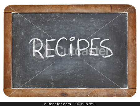 recipes word on blackboard stock photo, recipes word - white chalk handwriting on a vintage slate blackboard isolated on white by Marek Uliasz