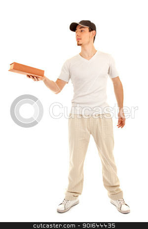 This book is for you stock photo, Casual young man gives a book, on white background by Iryna Rasko
