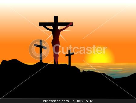 Easter Resurrection stock vector clipart, Vector Illustration of Jesus Christ on cross. Easter Resurrection. by Basheera Hassanali