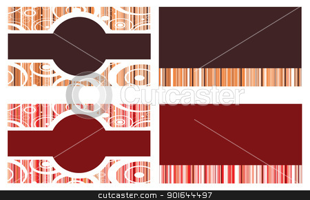 Red Brown Business Cards stock vector clipart, Vector Illustration of 4 business cards, invitations or templates. May be used for front and back. by Basheera Hassanali