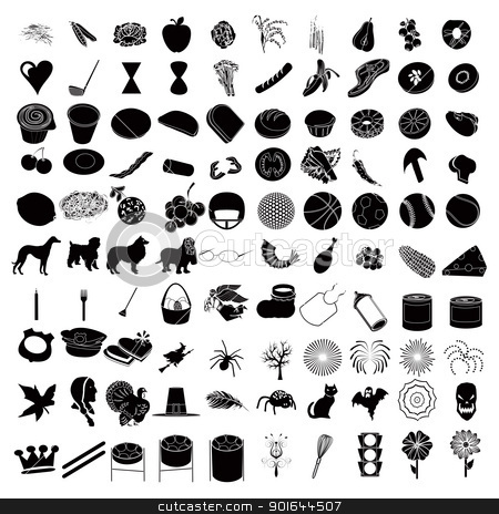 100 Icon Set 3 stock vector clipart, Vector Illustrtions of 100 Icon Set 3 by Basheera Hassanali