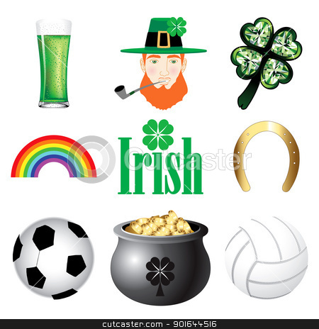 Ireland Icons 2 stock vector clipart, Vector Illustration for Ireland. Irish Button Icons by Basheera Hassanali