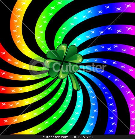 Rainbow Sparkle Shamrock stock vector clipart, Vector Illustration for St Patricks Day. Rainbow sparkle shamrock. by Basheera Hassanali