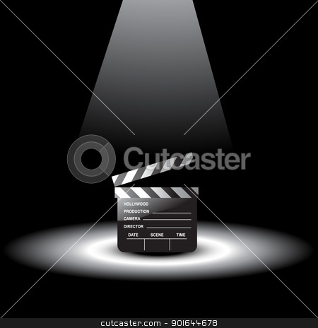vector clapperboard stock vector clipart, vector clapperboard with light focus on it by pinnacleanimates