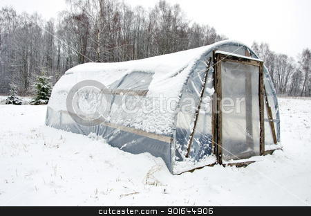wooden diy homemade greenhouse polythene snow  stock photo, wooden diy homemade greenhouse covered with polythene and snow in winter.  by sauletas
