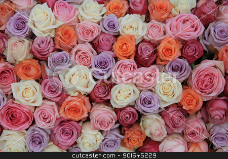 Pastel rose wedding flowers stock photo, Bridal flower arrangement with roses in many pastel colors by Porto Sabbia
