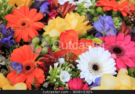 Mixed floral arrangement stock photo, Flower arrangement in many bright colors and different sorts of flowers by Porto Sabbia