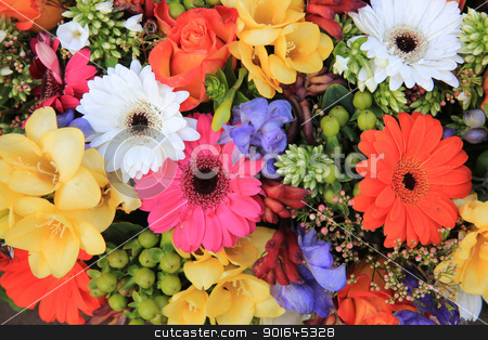 Mixed pink flower arrangement stock photo, Flower arrangement in many bright colors and different sorts of flowers by Porto Sabbia