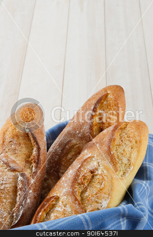 Three Crusty Baguettes With Copy Space stock photo, Fresh baked crusty loaves of French Baguette bread wrapped in a blue towel with copy space by Karen Sarraga