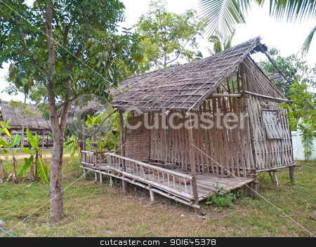 Old dilapidated hut stock photo, Old dilapidated hut in deserted rural village by Exsodus