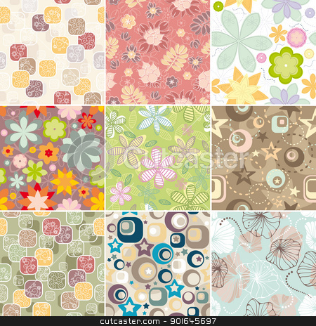 set of seamless floral pattern stock vector clipart, set of seamless floral pattern vector illustration by SelenaMay