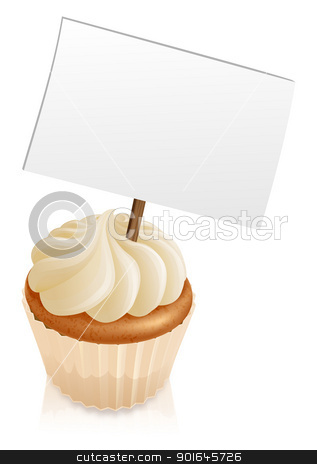 Cupcake sign stock vector clipart, Illustration of a cupcake with a sign sticking out if it  by Christos Georghiou