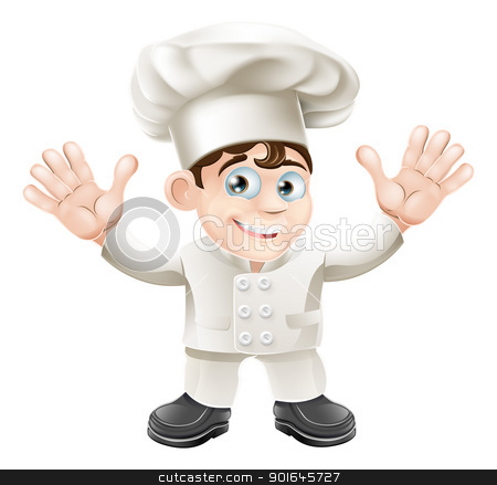 Cute chef mascot character stock vector clipart, A cute chef mascot character in chef hat and chef uniform by Christos Georghiou