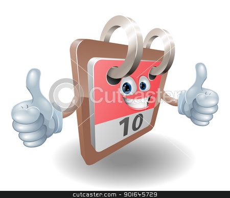 Calendar character cartoon stock vector clipart, A cute desk calendar person giving a double thumbs up and smiling  by Christos Georghiou