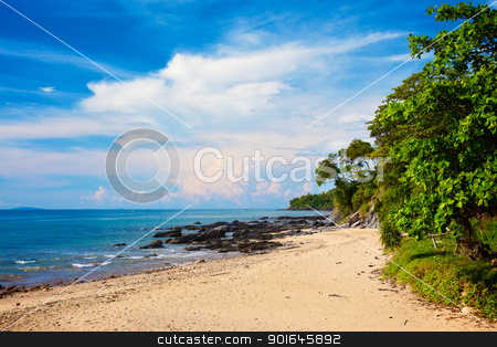 Tropical Beach stock photo, sunny beach with rocks and jungle, Thailand by Petr Malyshev