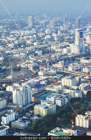 Bangkok View stock photo, Bangkok aerial city view at sunset, Thailand by Petr Malyshev