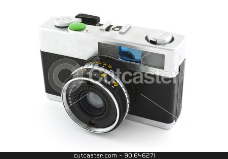 old photo camera stock photo, old photo camera isolated on white background by Lutya