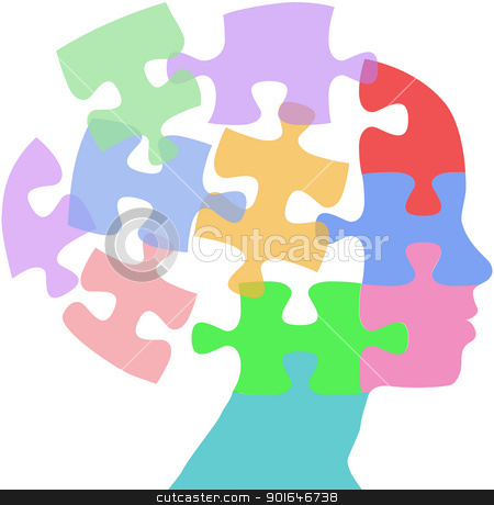 Woman faces mind thought problem puzzle stock vector clipart, Head of a woman as mind thought problem jigsaw puzzle pieces by Michael Brown