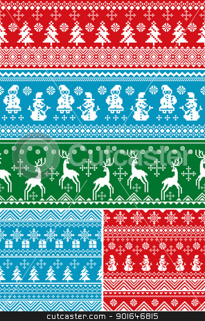 seamless Christmas patterns stock vector clipart, set of abstract vector seamless Christmas patterns by SelenaMay