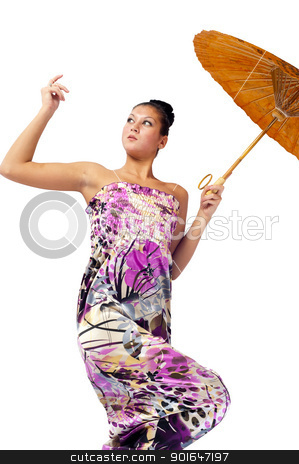 Attractive girl with umbrella stock photo, Young beautiful woman with asian umbrella. Isolated on white by Aikon