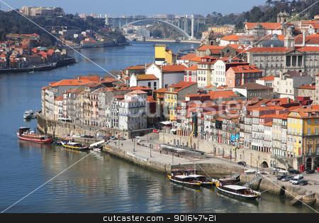Portugal. Porto city. View of Douro river embankment stock photo, Portugal. Porto city. View of Douro river embankment in the morning by Morozova Oxana